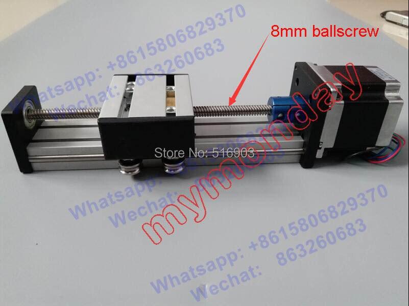 Effective Travel 100mm T8*2 8MM T-screw Ball Screw Linear Guide Moving Table Slide Rail+57 Motor Nema 23 Stepper Motor for CNC