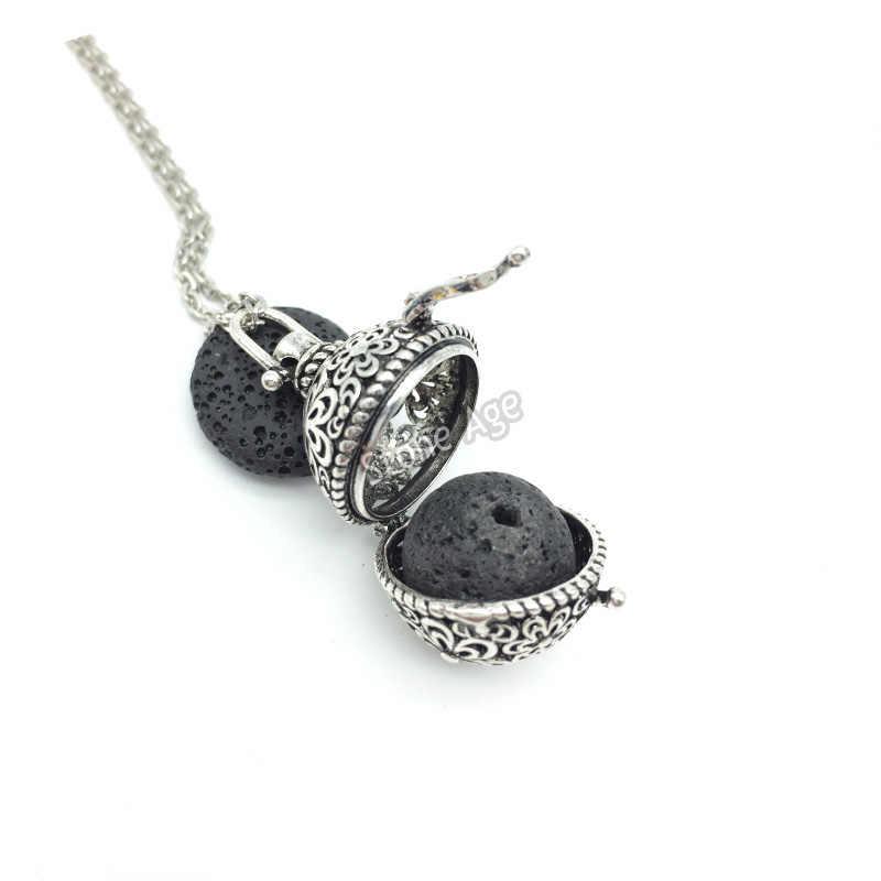 Silver pendant and lava stone