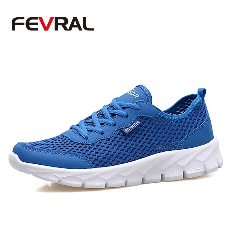 FEVRAL New Summer Super Sneakers Men Light Running Shoes Breathable Air Mesh Sport Shoes for Men Slip On Shoes Jogging for Run
