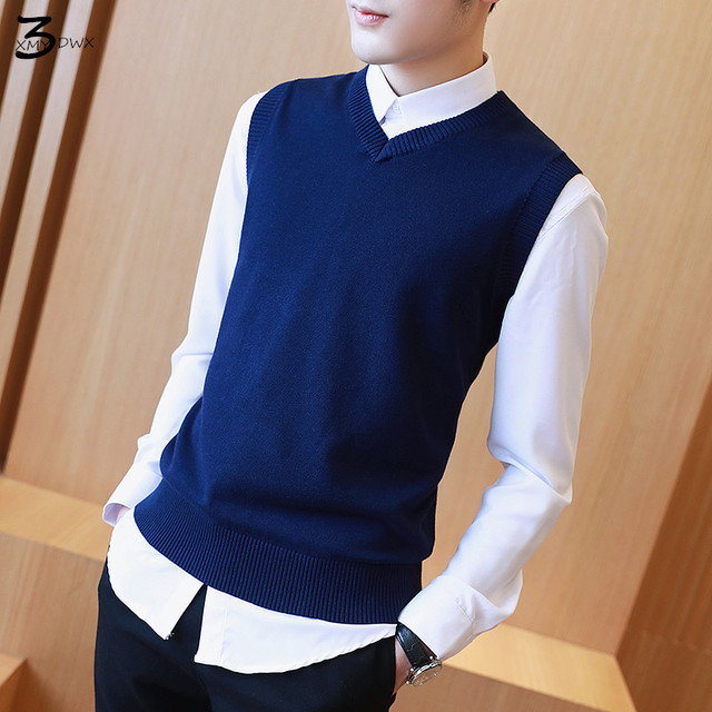 7935b39f57208 2018 fashion male quality slim Fit high-grade knitting sleeveless sweater Male  pure color leisure v-neck knit shirt Knit sweater