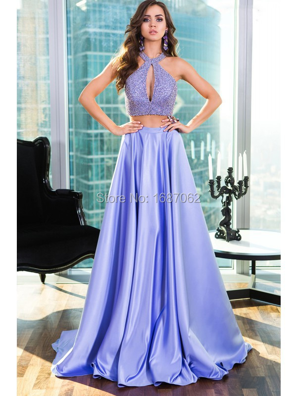 Lavender Two Pieces Prom Dresses Halter Court Train Spaghetti Straps