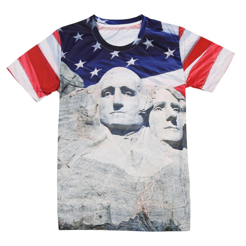 Men Summer Running T-shirts Independence Day Theme 3d Print Short Sleeve Sports Wear Men ...