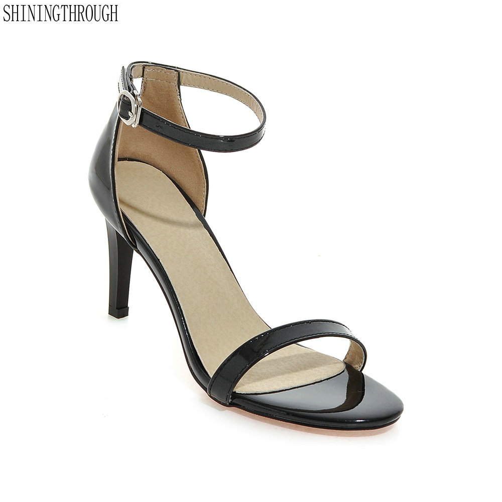 цена на Summer Shoes Women Sandals High Heels Sexy Black Ankle Strappy Sandals Female High Heels Sandals Stiletto Open Toe