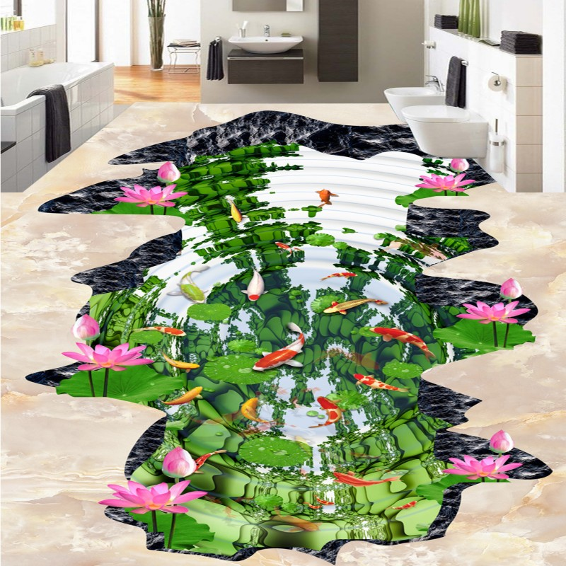 Free Shipping Lotus pond nine fish figure lotus floor 3D outdoor painting thickened non-slip bathroom living room flooring mural free shipping realistic large pond carp floor 3d wear non slip thickened kitchen living room bathroom flooring wallpaper mural
