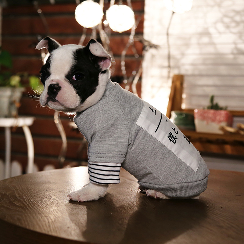 JU Pet clothes spring and summer models dog clothes Japanese patch sweater VIP Teddy two-foot clothes