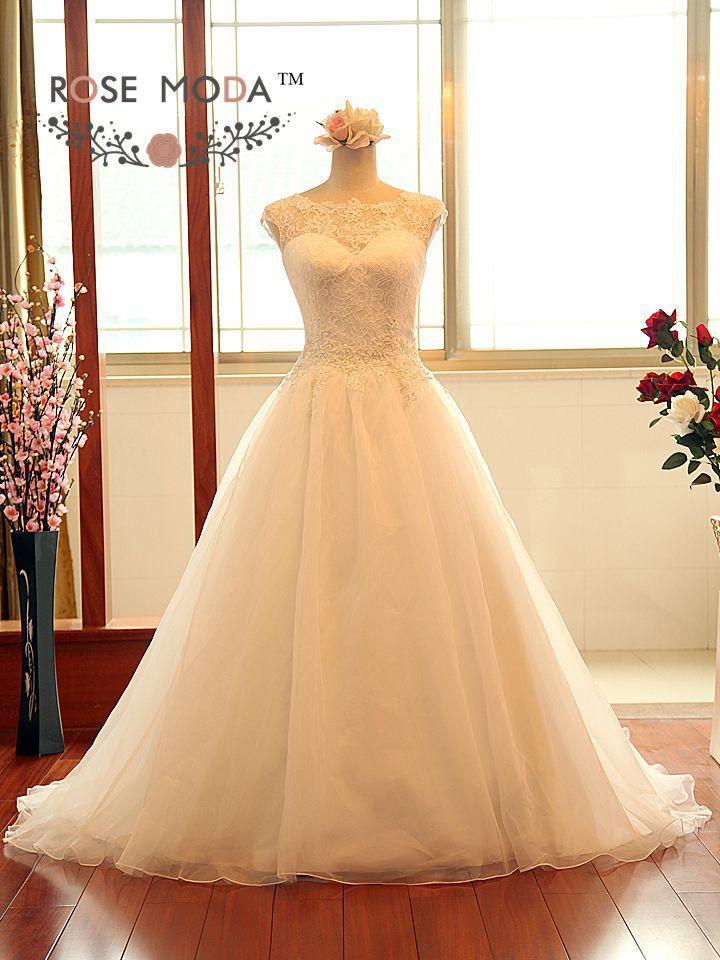 Elegant princess a line wedding dress with keyhole back for Illusion sweetheart neckline wedding dress