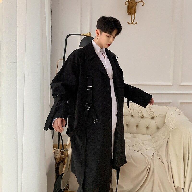 2019 новый мужской уличный стиль панк хип хоп Свободный Длинный Тренч с лентами пальто весна осень Мужская Уличная мода ветровка куртка - 5