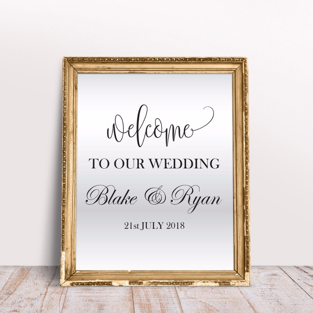 Us 8 9 25 offpersonalized names wedding wall sticker venue event decor wedding design window decal wedding custom names wall mural ay809 in wall
