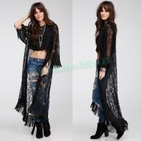 Fast Shipping 2017 Vintage Women Loose Kimono Chiffon Maxi Cardigan Coat Black Hollow Out Long Chiffon