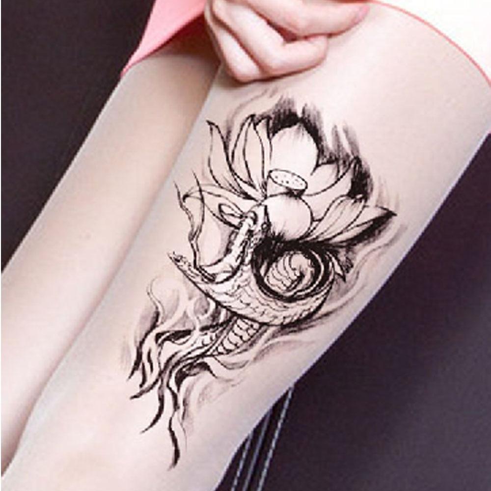 Yeeech Temporary Tattoos Sticker Vintage Tribal Snake Lotus Flower