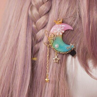 Kawaii Princess Lolita Handmade Moon Hair Accessory 1