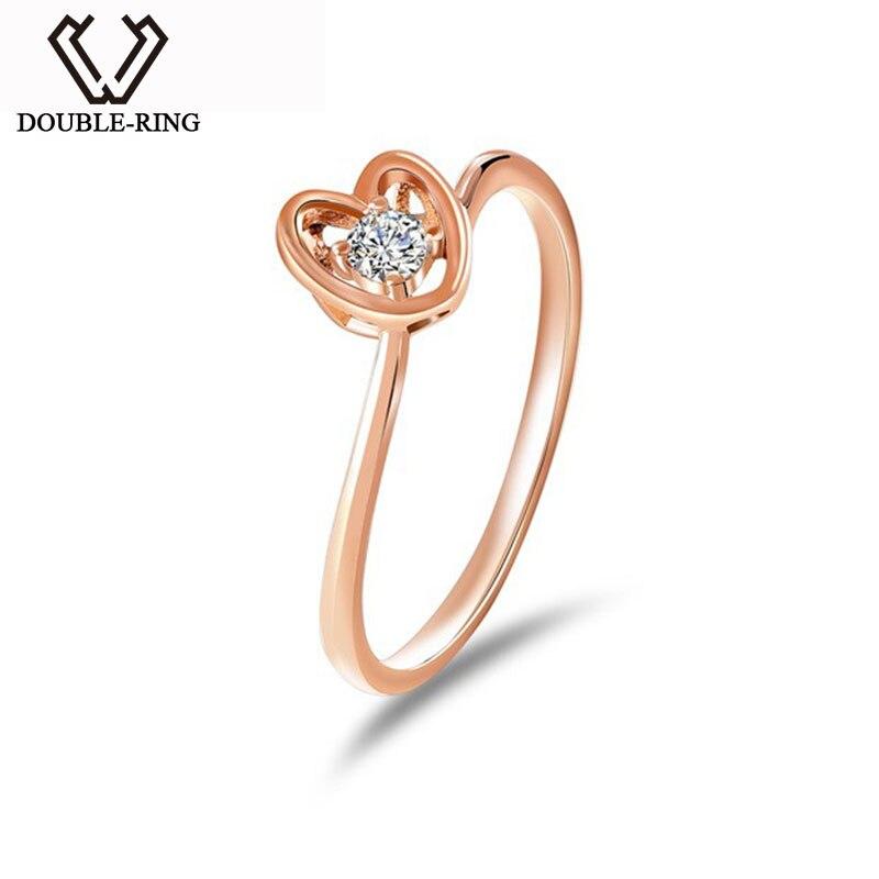 алмазная алмаз Дважды кольцо сердце ювелирных изделий Для женщин кольцо золото 18 К 0.093ct кольцо с бриллиантом Свадебные Обручение кольцо биж