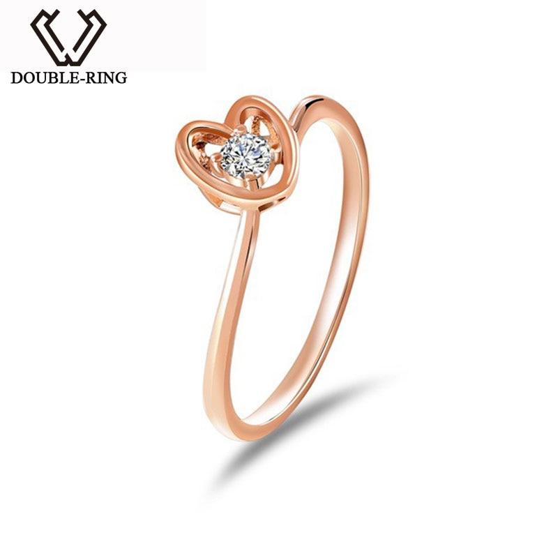 DOUBLE RING Women Ring Gold 18 K 0.093ct Diamond Heart Ring Bridal Wedding Engagement Bijouterie CASR01023KA 3 Joias Ouro 18k