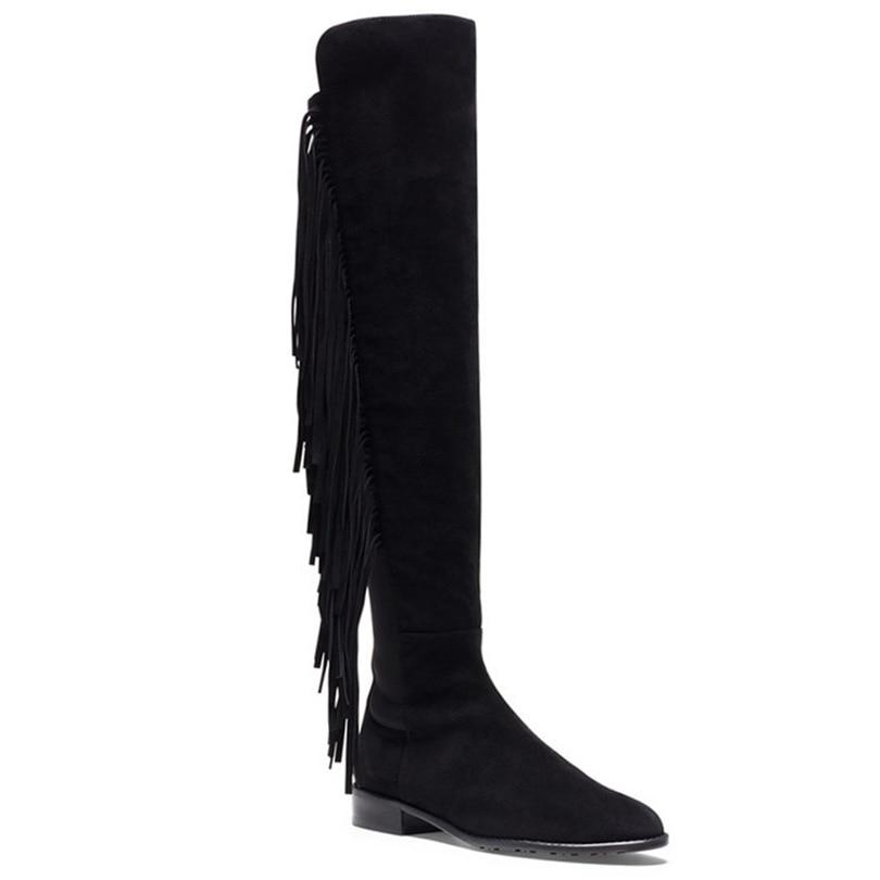 Knee boots new winter long fringed leather font b handbag b font SUB675