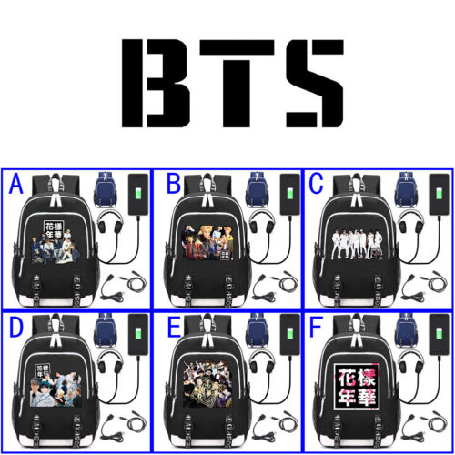 Kpop BTS Bangtan Boys Leisure Daily Backpack Student School Bag Notebook Backpack with USB Charging Port &Headphone Interface