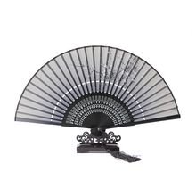 Hot Sale Japanese Ladies Cheaper Bamboo Folding Hand Fans,Wholesale Personalized Fan of Old Wedding Decoration Black 2