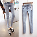 2015 New Korean Vintage Jeans Slim Thin Denim Pencil Pants Hip Long Pants Skinny Jeans Woman  D638