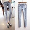 2015 Nueva Corea Vintage Jeans Delgado Delgado Denim Lápiz Pantalones Pantalones Largos de la Cadera Skinny Jeans Mujer D638