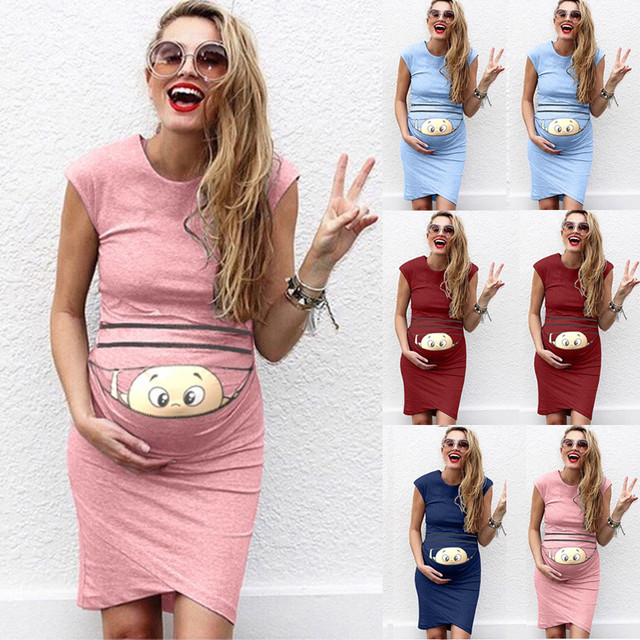 484357e48025b US $3.92 49% OFF|Summer Dresses For Pregnant Women maternity dresses Baby  Print Pregnant Maternity Maternity Props Bodycon Casual Dresses 2019-in ...