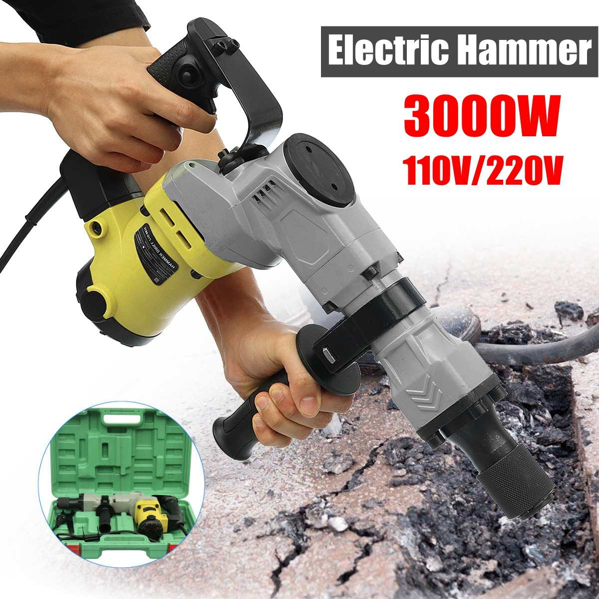 110/220 V 電気ドリル 3000 ワット 3000BPM 電気解体電気ハンマードリルコンクリートブレーカパンチジャック 4500r/ 最小