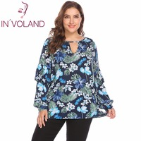 IN VOLAND Large Size L 4XL Women T Shirts Tops Spring Autumn Long Sleeve Pullovers Ruffles