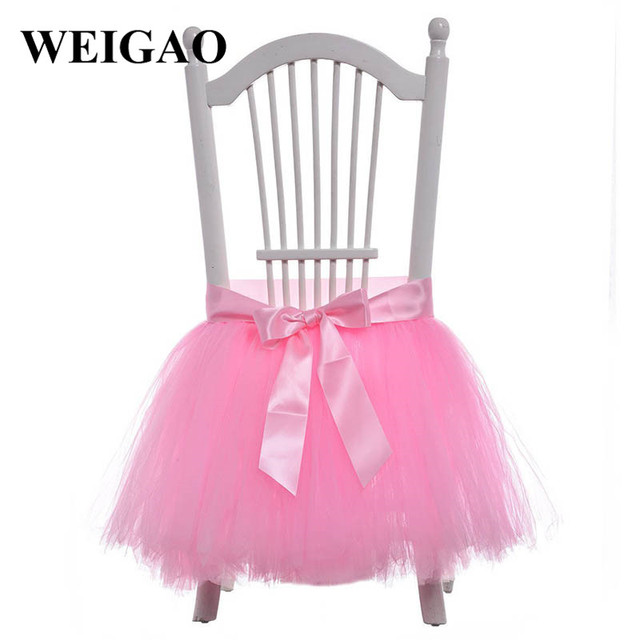 Weigao 1pcs Pink White Tulle Tutu Bowknot Chair Skirt Cover Wedding Decoration Baby Shower