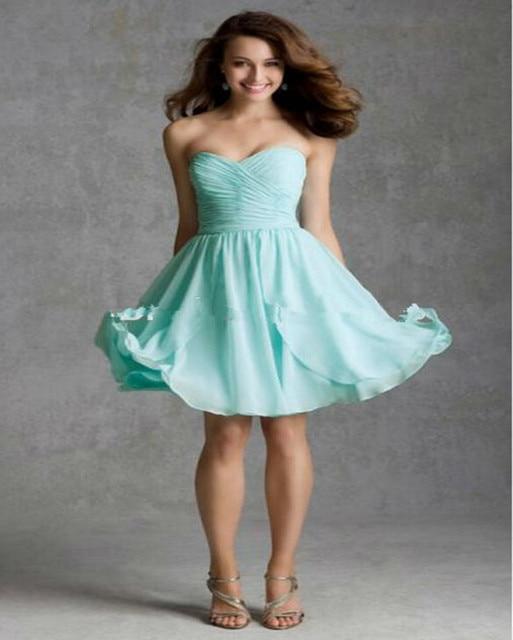 Strapless Sweetheart Short Mint Green Bridesmaid Dresses Prom Dress
