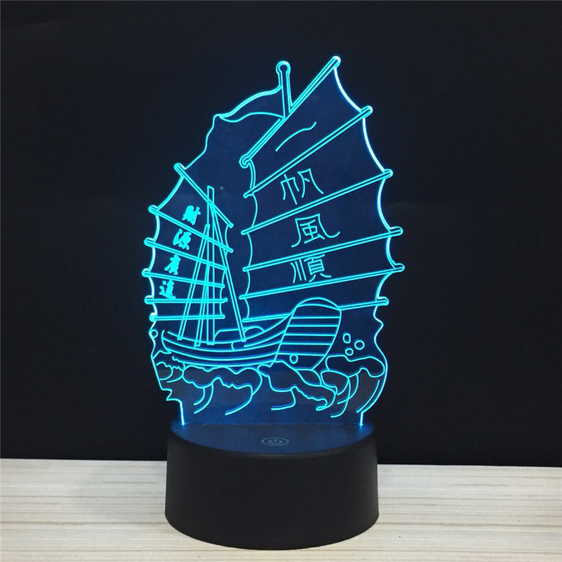 Chinese Sailboat LED 3D Smooth Sailing Business is Booming Acrylic Night Lamp Light Luminary With Touch And Remote Lamps Lights in LED Night Lights from Lights Lighting