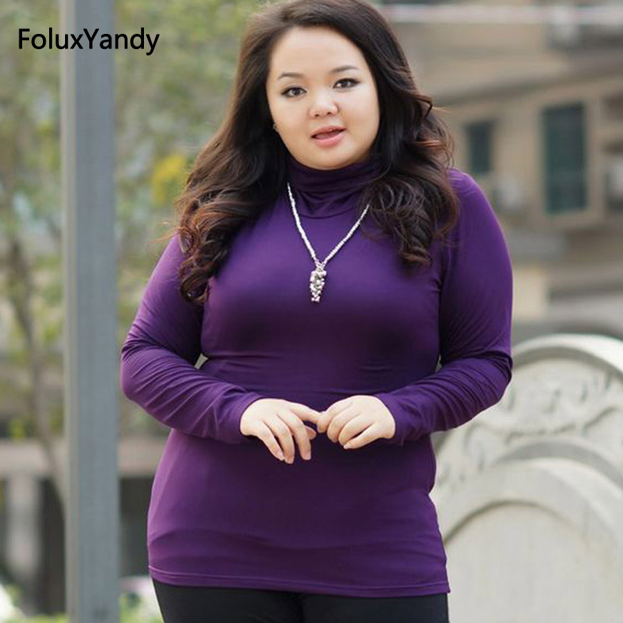 Spring Autumn Style Turtleneck Tops Tees Women Plus size 3 4 5 XL Brand New Casual Long Sleeve T shirts FH261 in T Shirts from Women 39 s Clothing