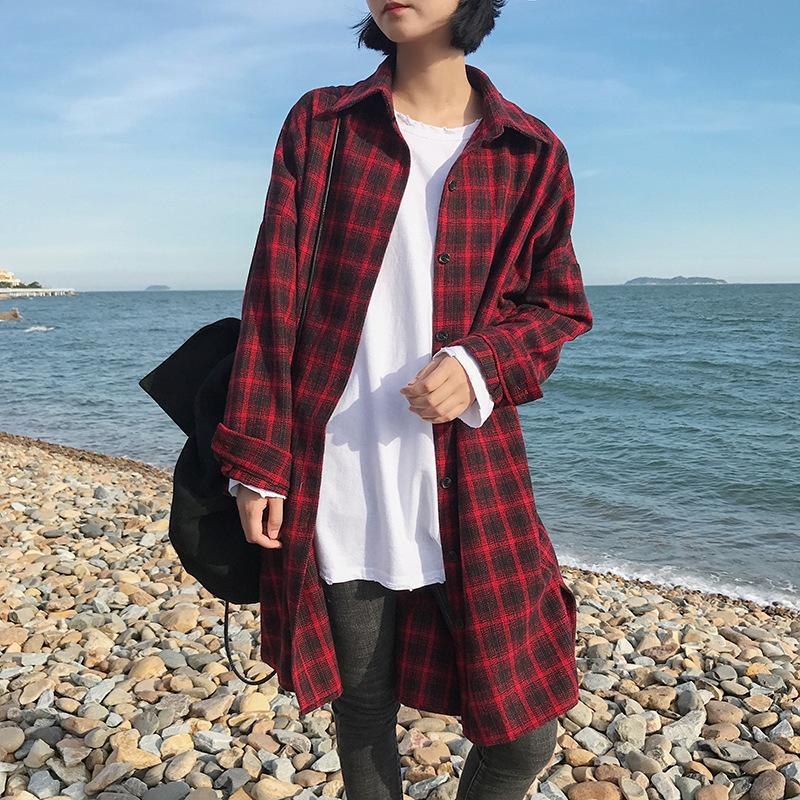 Casual Autumn Thick Long Sleeved Plaid Shirt Lapel Loose Long Coat Maternity Tops Pregnancy Maternity Shirt Women Clothing