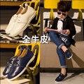 Novas Crianças Sapatos Meninos Primavera Pedal Flat Sapatos Casuais Genuíno Sapatos De Couro Para Meninas Estudantes Crianças Calçado 21-33 F213