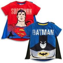 Новинка года; футболка для мальчиков; топы с накидкой; летняя футболка с короткими рукавами с суперменом и Бэтменом; одежда для маленьких мальчиков; Детский карнавальный костюм