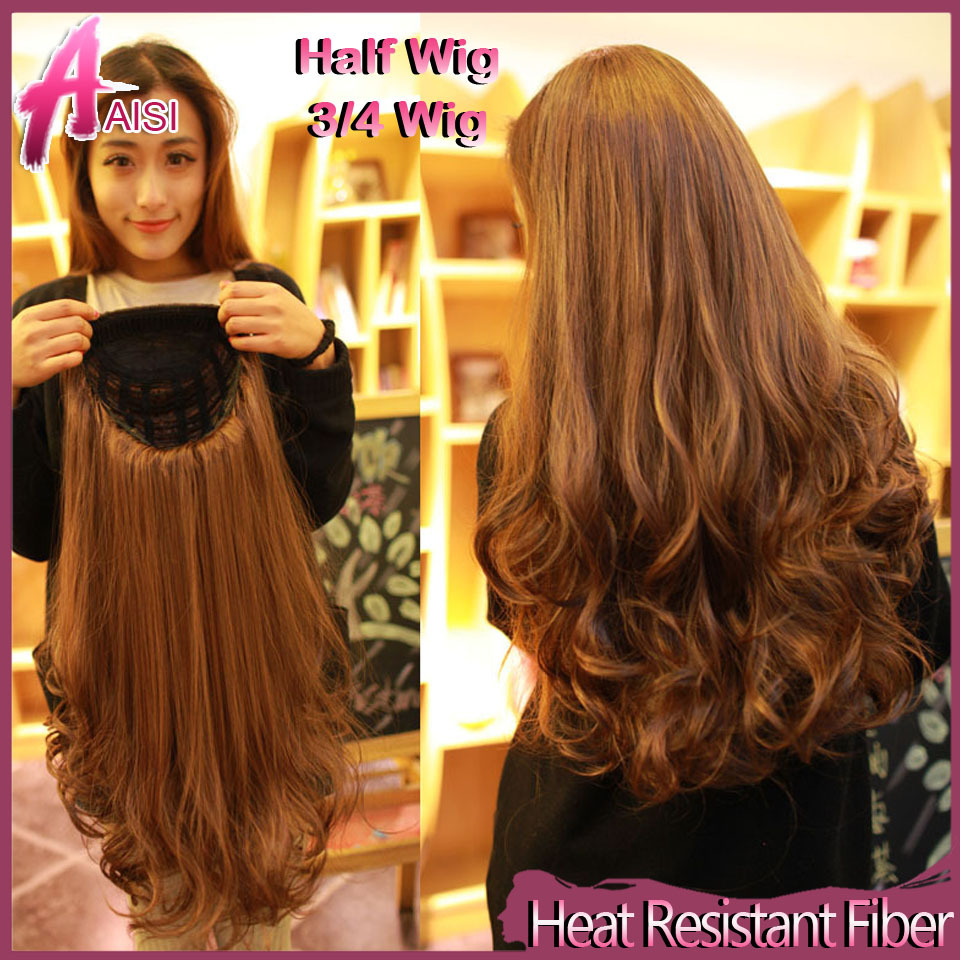 new fashion women s half wig long synthetic hair wigs cheap balck curly  ombre wave 3 4 wig blonde ms female 13 colors available 6ac86de1ea