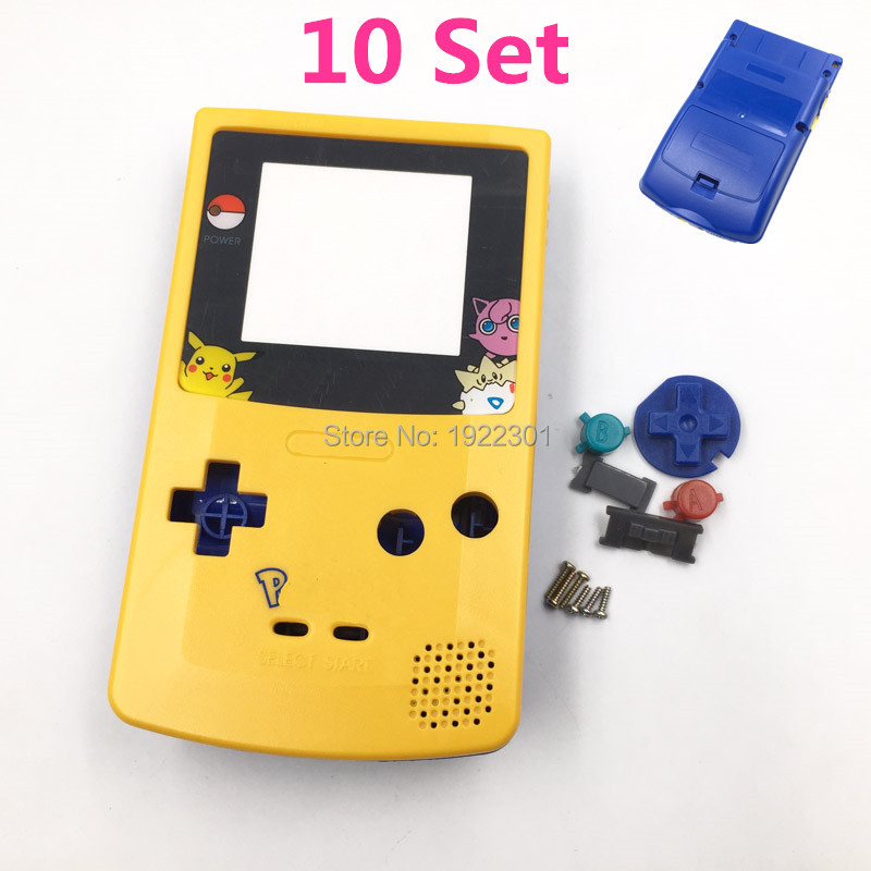 10 Set For Pokemon Yellow Blue Shell Housing Case Replacement For Gameboy Color for GBC Game
