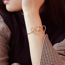 Fashion Open Bangle Trend Peach Heart Butterfly Simple Versatile Metal Handmade Gift