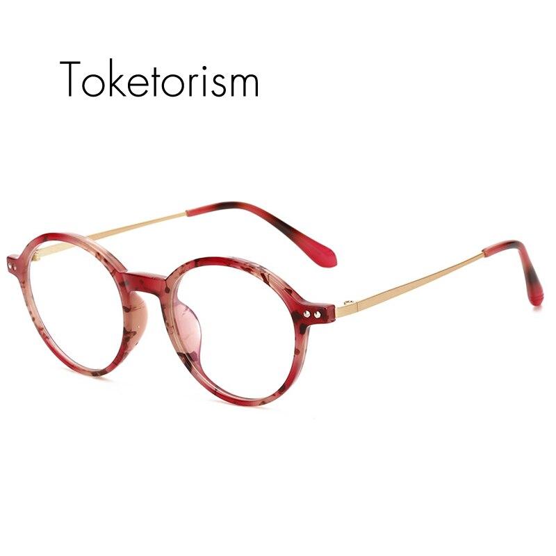 e2445ae673ea Toketorism retro round eyeglasses tr90 Plastic Titanium frame vintage  glases optik women men 4261