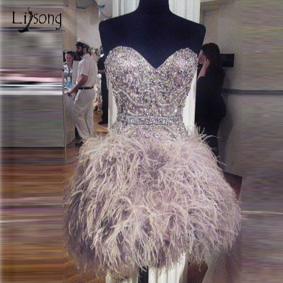 Luxury Crystal Feather Short Cocktail Dresses Abiye Off Shoulder Lace Up Fashion Prom Gown Graduation Dresses Robe De Cocktail