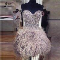 Luksusowe Kryształ Feather Krótkie Sukienki Koktajlowe Abiye Off Shoulder Lace Up Fashion Balu Togi Graduation Suknie Robe De Cocktail
