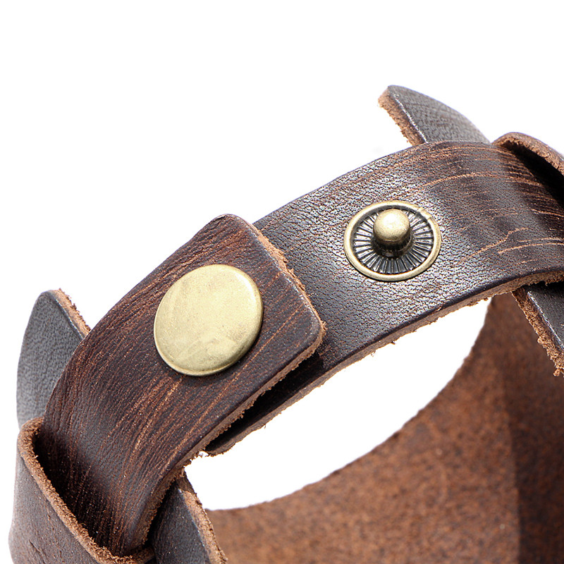IF YOU Fashion Wide Double Layer Wrap wristband Leather Bracelet Homme Cuir For Men Fashion Casual Rock Cuff Armband Bracelets 7