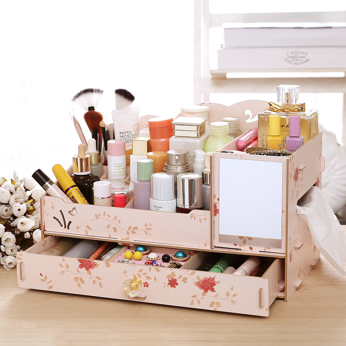 Aliexpress.com : Buy DIY Wood Women Makeup Organizer with Mirror ...