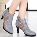 2017 summer new high-heeled genuine leather women's net shoes breathable  yarn fine fine eye hole women's shoes free shipping