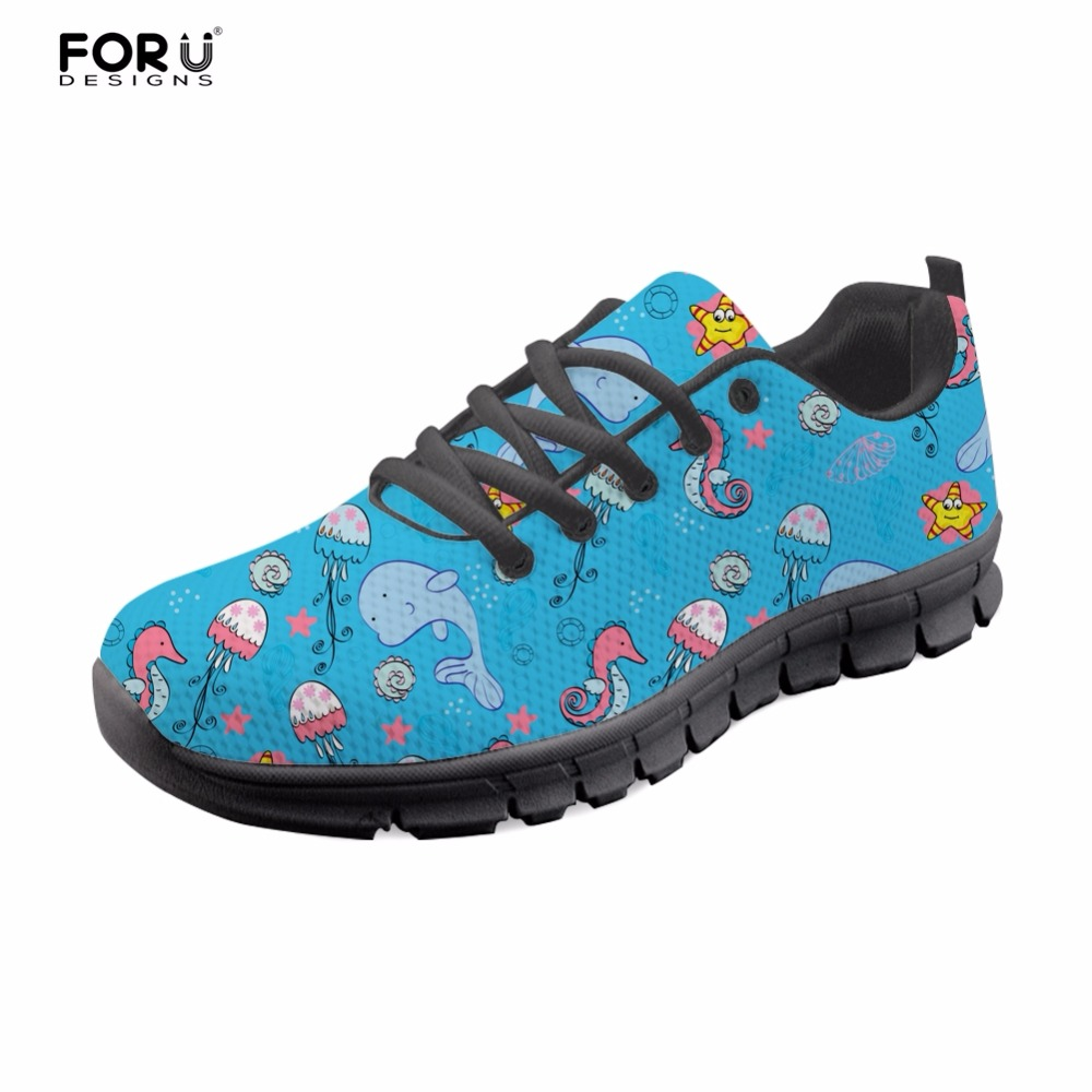 FORUDESIGNS Blue Sea Cute Dolphin Pattern Sneakers Fashion Women Casual Flats Shoes Woman Comfort Walking Shoes for Ladies Mesh