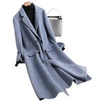 2018 модные Шерстяное пальто женский длинный двухсторонний Альпака Кашемировые Куртки для Осенне зимняя Дамская обувь manteau femme hiver YQ308
