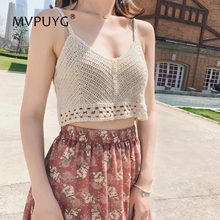 цена на 2018 Korean Sweet Tank Top Women Sexy Thin Camis V Neck Hollow Out Knitted Sleeveless Loose Female Top Vest Ladies Women Shirt