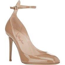 Shofoo Frauen Apricot Gekreuzte Strap Punkt Toe High Heels Pumps Sexy Schuhe für frau, plus größe 5-14, party & hochzeit & abend