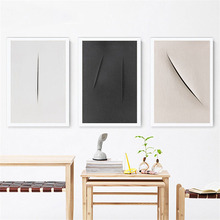 HAOCHU Nordic Abstract Decorative Painting Minimalist Knife Mark Black and White Wall Art Canvas Print Poster Living Room Study