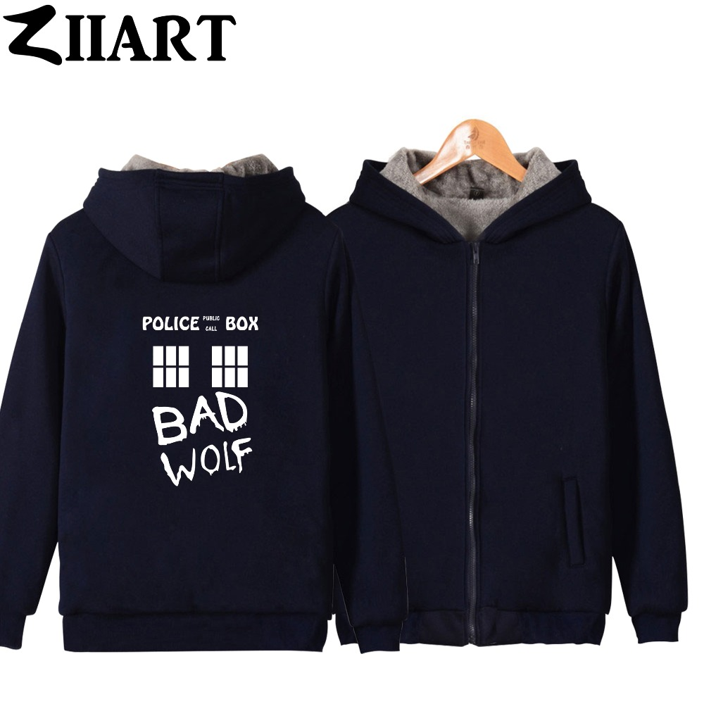 Bad Wolf TARDIS Doctor Who police box window public call Girls Woman Full Zip Autumn Winter Plus Velvet   Parkas   ZIIART