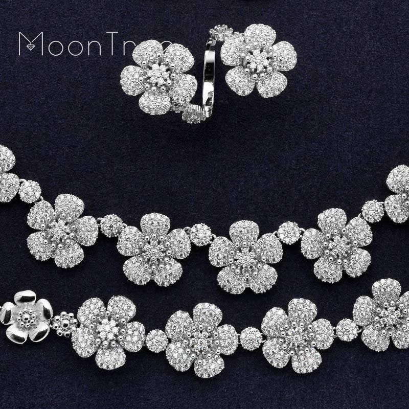 Takı ve Aksesuarları'ten Takı Setleri'de MoonTree Lüks Moda Çiçek Tam Mikro Açacağı Kübik Zirkonya Kadınlar Düğün Gelin Kolye Bilezik Küpe Yüzük Seti'da  Grup 2
