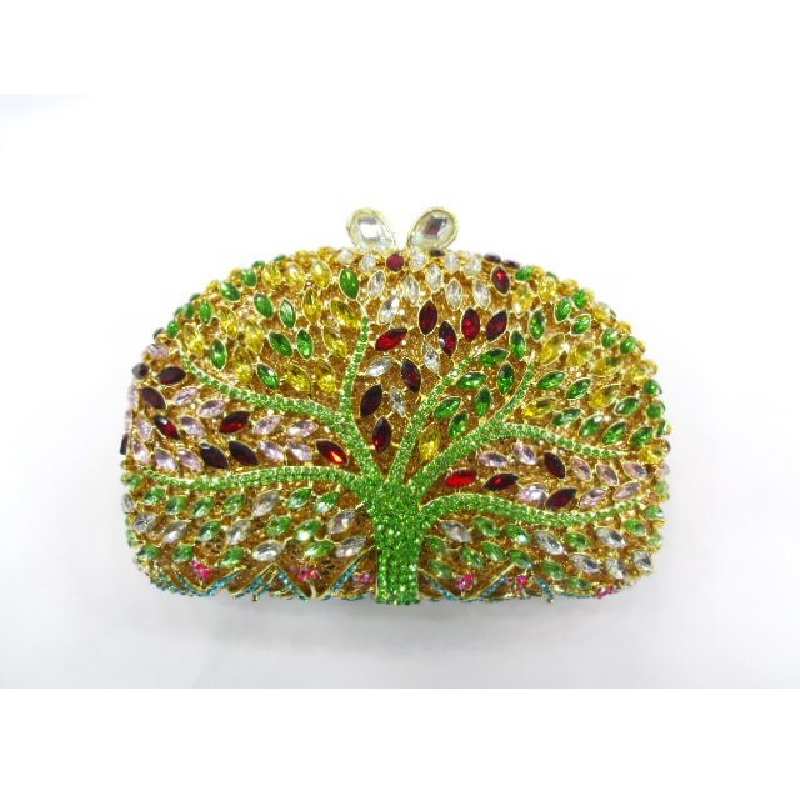 ФОТО TREE color-D Crystal Lady fashion Wedding Bridal hollow Metal Evening purse clutch bag box case handbag