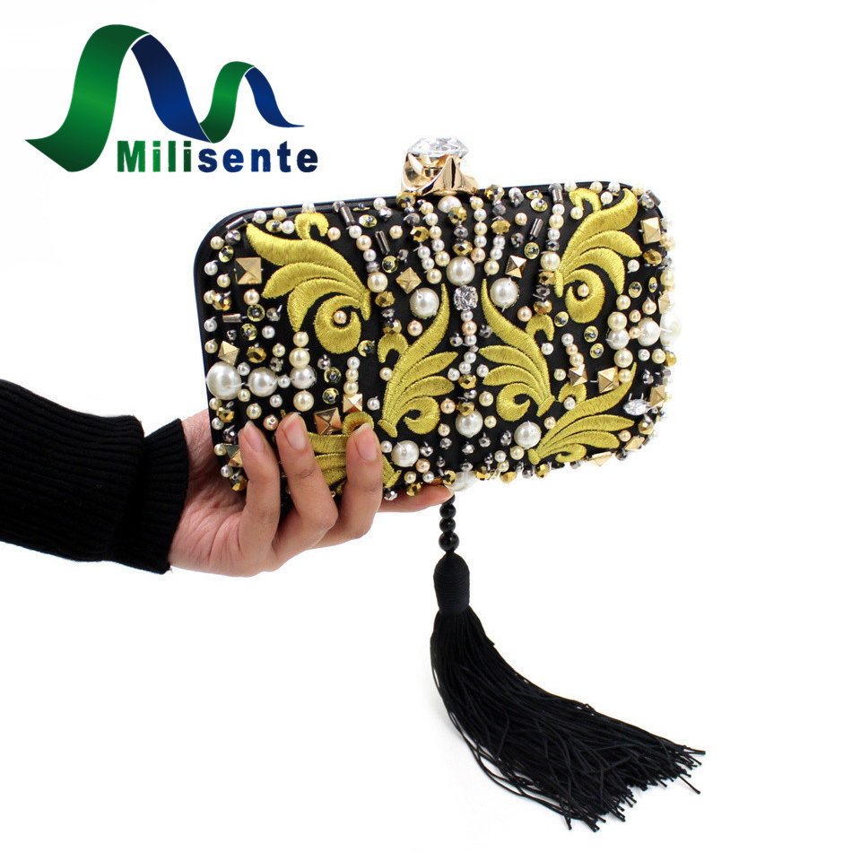 Milisente Beaded Embroidery Tassel Bags Women Party Bag Small Evening Clutches Lady Wedding Clutch Chain small transparent acrylic clutch perfume bottle bags lady evening clutch bags chain clutches women crossbody bag